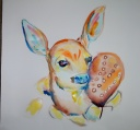 """Baby Fawn - 22"""" X 22"""" watercolor"""
