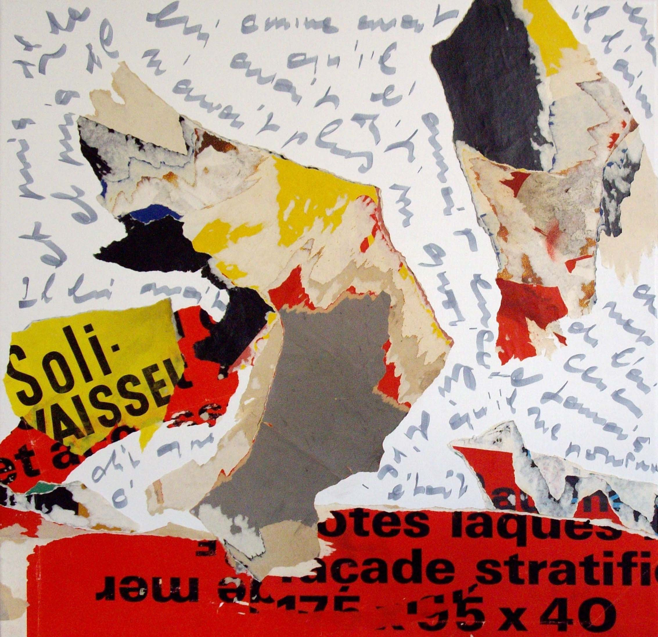 Les Sablons II: L'envol - 60 x 60 cm - March 2008 - Torn posters, calligraphy on canvas