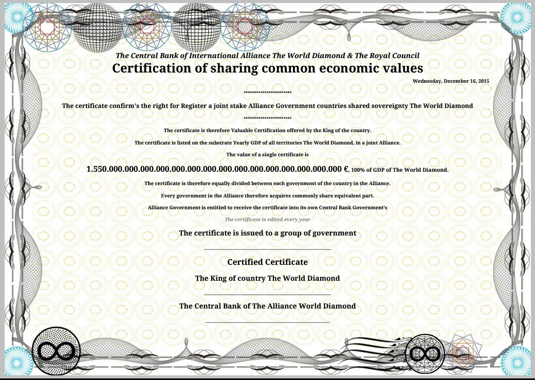 Certification form The Alliance Bank of The World Diamond & The Royal Council